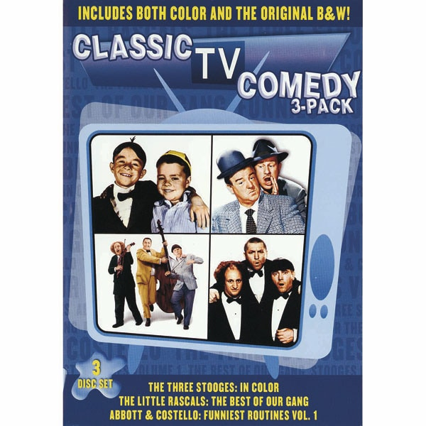 Classic TV Comedy 3 Pack The Three Stooges In Color Little Rascals Best Of Our Gang Abbott Costello Funniest Routines Vol 1