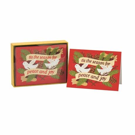 Peace And Joy Doves Holiday Glitz Notecards