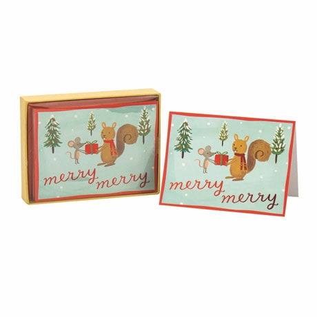 Forest Friends Holiday Glitz Notecards