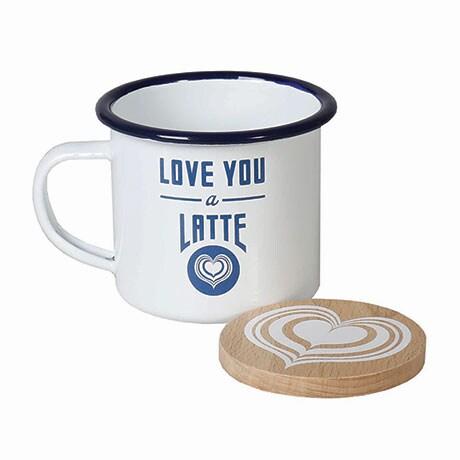 Love You A Latte Enamel Mug And Coaster Set