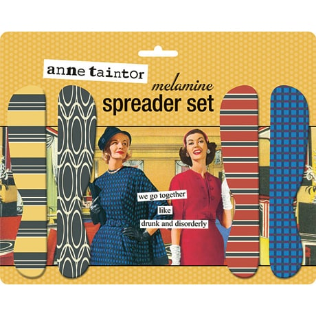 """We Go Together Like Drunk and Disorderly"" Melamine Spreader Set"