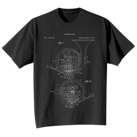 Vintage Patent French Horn T-Shirt